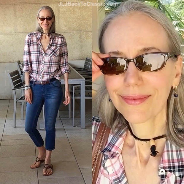 Classic-Fashion-Over-40-Skinny-Jeans-Talbots-Plaid-Shirt-Pink-Longchamp-Tote