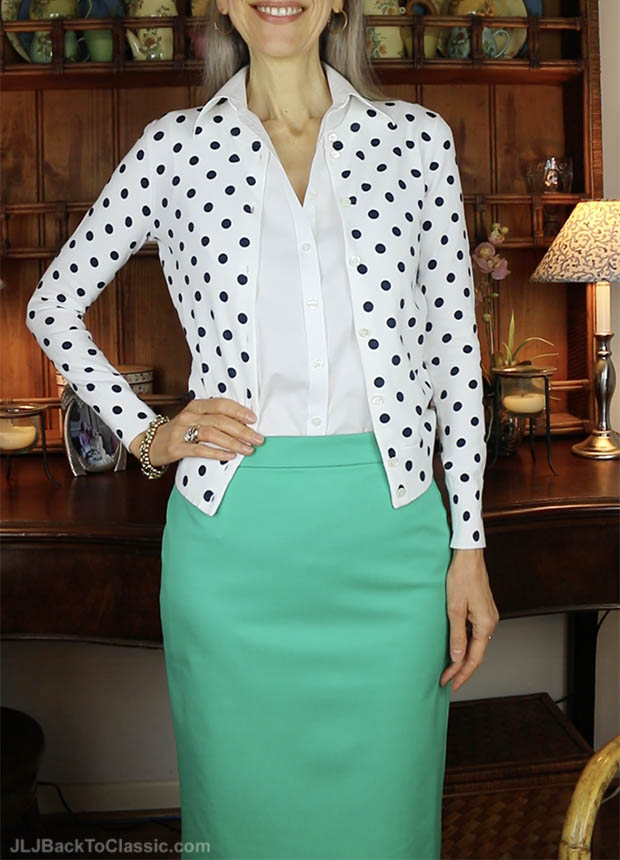 Classic-Fashion-Over-40-J.-Crew-Dot-Cardigan-And-Number-2-Pencil-Skirt-Patina