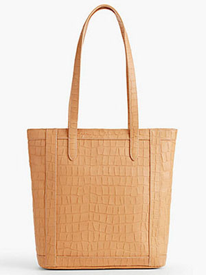 Classic-Fashion-Over-40-50-Talbots-Ginger-Croc-Embossed-Tote
