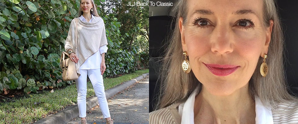 (Video) Classic Fashion Over 40/50: Short Makeup Chat; Taupe and White Skinny Jeans Outfit With The Phillip Lim  Pashli Leather Satchel