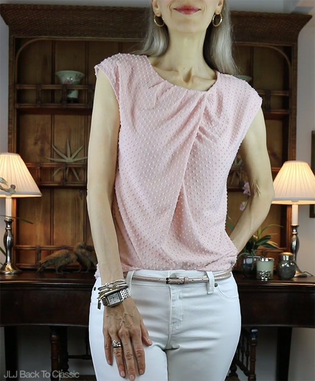 2b-Classic-Fashion-Over-40-50-Talbots-Clip-Dot-Twist-Front-Top