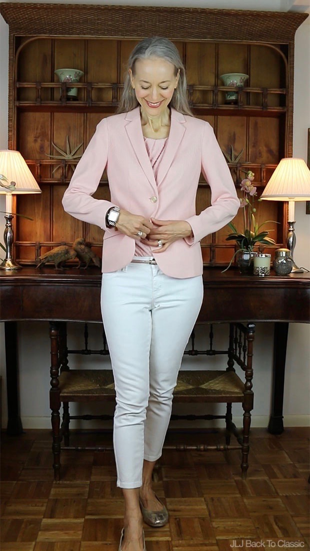 Classic-Fashion-Over-40-50-Talbots-Twist-Front-Top-Aberdeen-Knit-Blazer