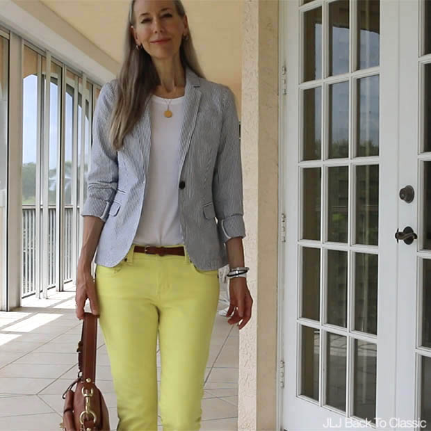 Classic-Preppy-Over-40-Seersucker-Blazer-Yellow-Skinny-Jeans-Coach-Leather-Bag