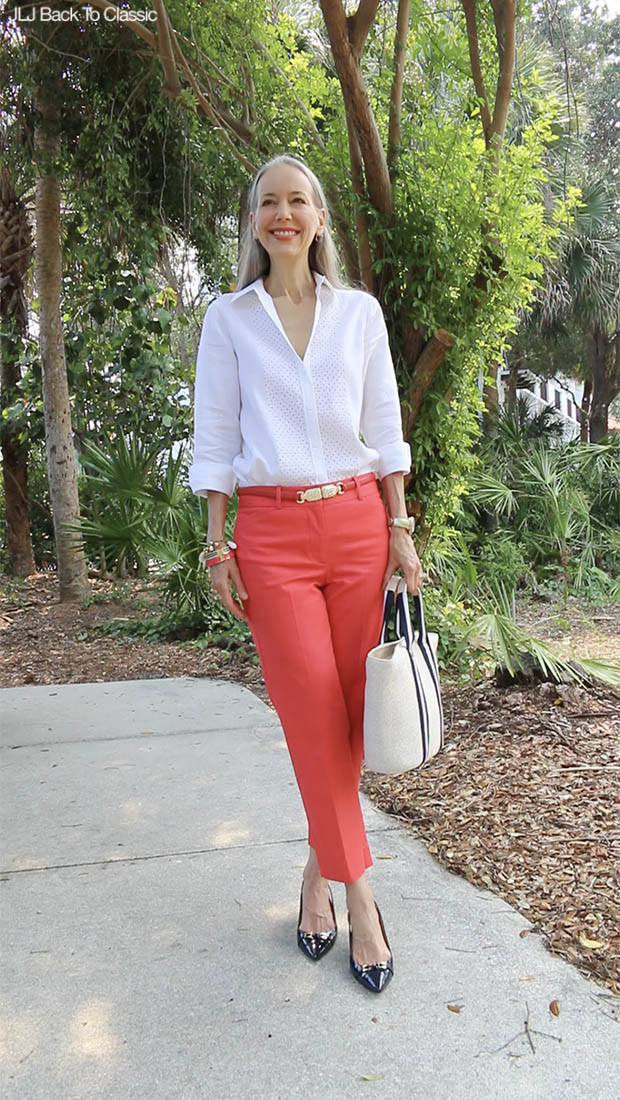 Classic-Fashion-Over-40-50-Talbots-Perfect-Crop-Pant-White-Linen-Shirt
