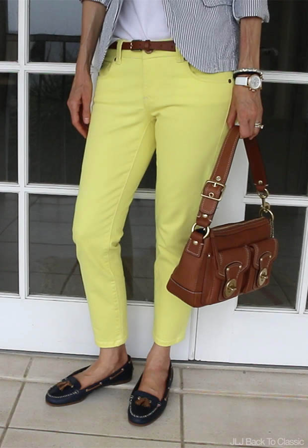 Classic-Fashion-Yellow-Skinny-Jeans-Coach-Leather-Bag-Navy-Sperry-Tassle-Moccasins