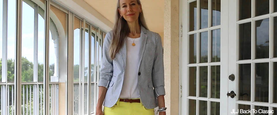 Classic-Fashion-Over-40-50-Seersucker-Blazer-Yellow-Skinny-Jeans-Coach-Leather-Bag