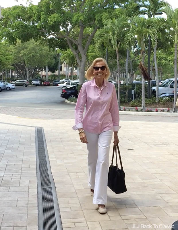 Classic-Fashion-Over-60-Ralph-Lauren-Pink-Stripe-Button-Up-White-Jeans