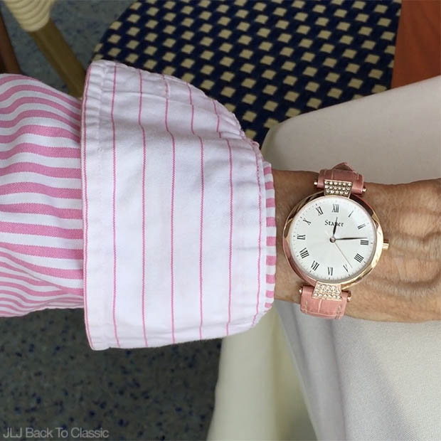 Classic-Fashion-Over-60-Ralph-Lauren-Stripe-Button-Up-Stauer-Pink-Watch