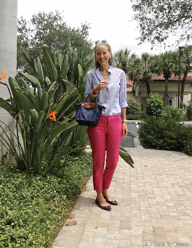 Preppy-Fashion-Over-40-Blue-Striped-Shirt-Pink-Pants-Longchamp-Le-Pliage