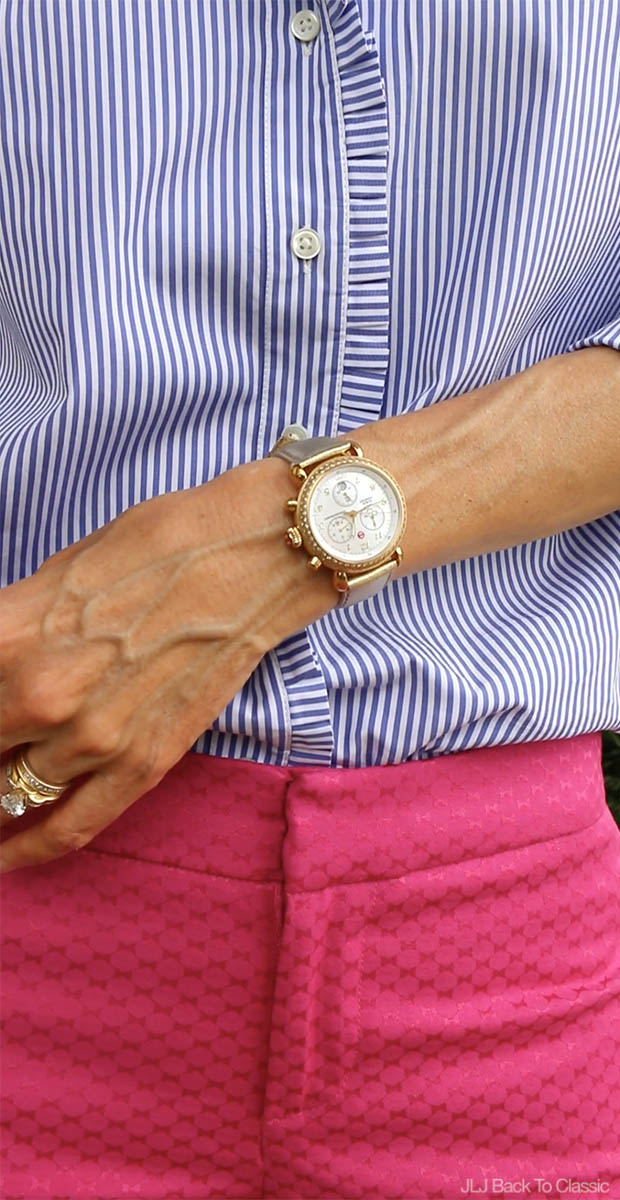 Classic-Preppy-Fashion-Over-40-Striped-Blue-Shirt-Michele-CSX-Gold-Watch