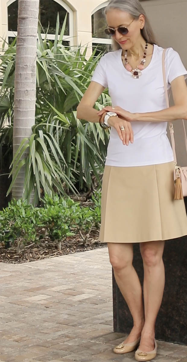 Classic-Fashion-Ralph-Lauren-Khaki-Skirt-White-Tee-Talbots-Cabachon-Necklace