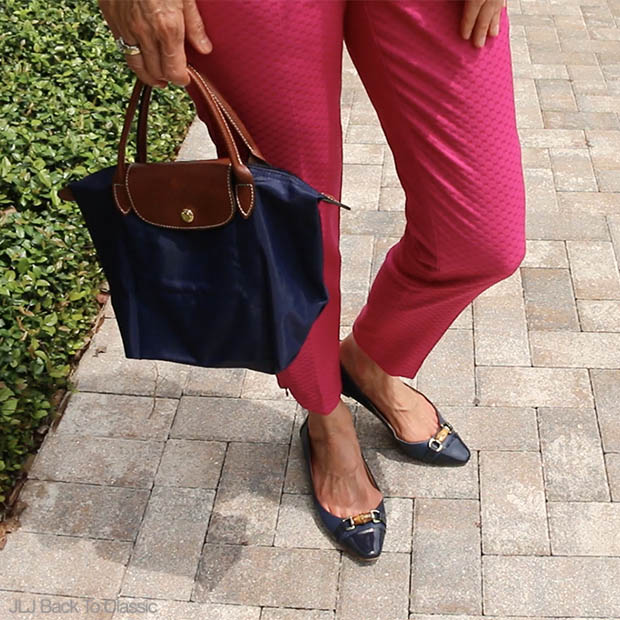 Preppy-Fashion-Over-40-Talbots-Pointy-Toe-Flats-Navy-Longchamp-Le-Pliage