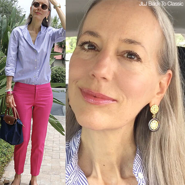 Classic-Preppy-Fashion-Over-40-Striped-Shirt-Pink-Pants-Longchamp-Le-Pliage