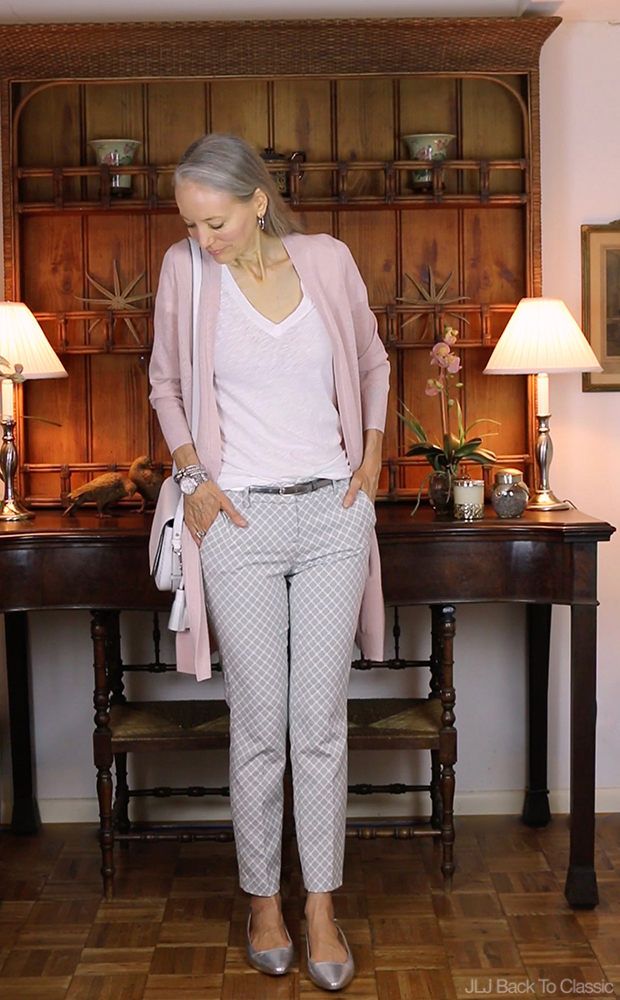 Style-Over-40-Long-Pink-Cardigan-Gray-Pants-Kate-Spade-White-Crossbody