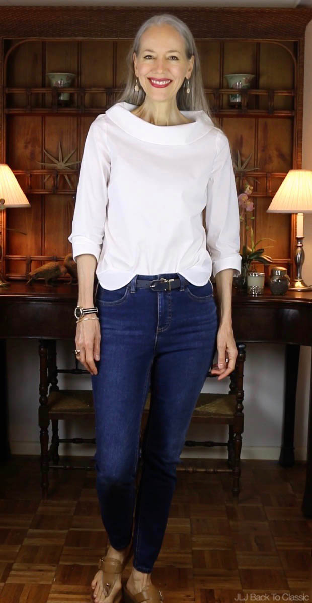 Classic-Fashion-Over-40-Talbots-Five-Pocket-Jegging-Portrait-Collar-Shirt