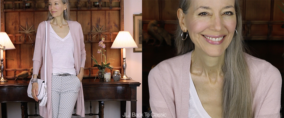 (Video) Classic Style Over 40-50: Pink Long Cardigan & Gray Pants OOTD