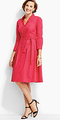 Talbots-Ruffled-V-Neck-Shirtdress