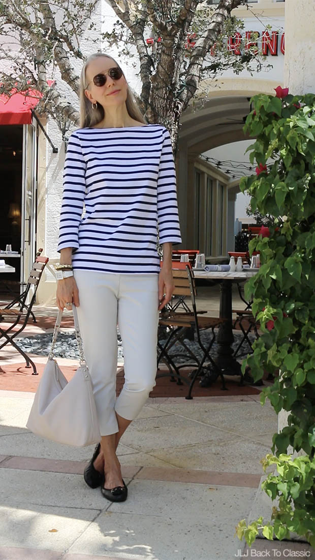Classic-Style-Over-40-Vlog-Striped-Tee-Chinos-The-French-Brasserie-FL