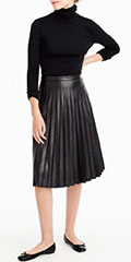 J-Crew-Faux-Leather-Pleated-Skirt-Black-Turtle-Neck-Ballet-Flats
