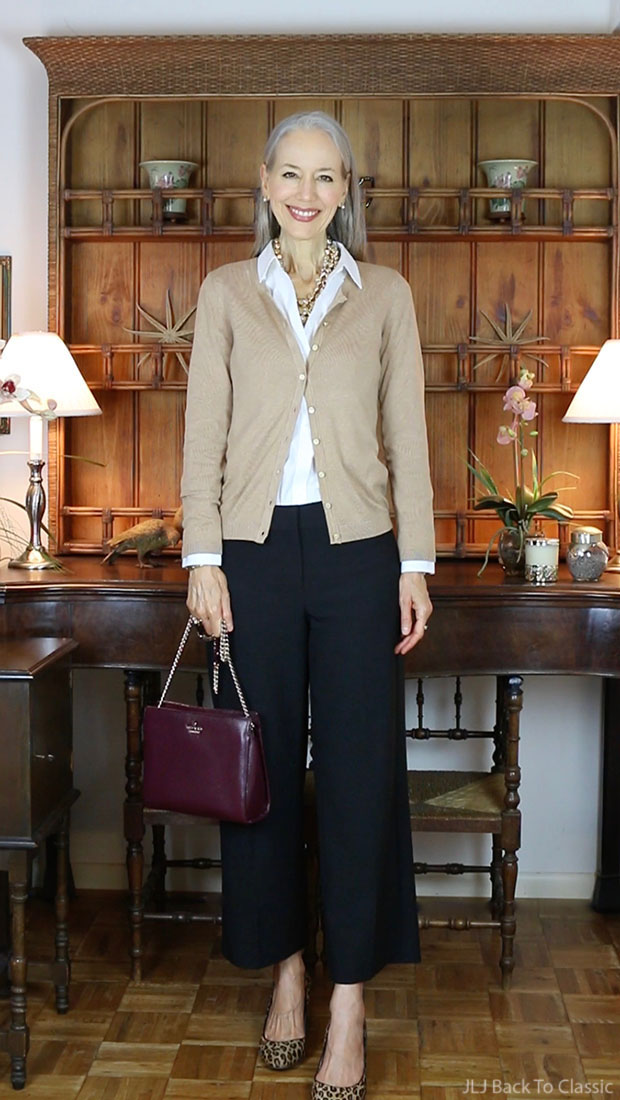 Classic-Fashion-Over-50-Talbots-Cardigan-Wide-Leg-Pants-Kate-Spade-Bag