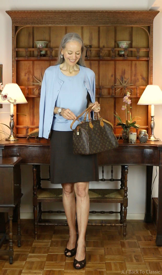 Talbots-Blue-Cardigan-Shell-Brown-Skirt-Stuart-Weitzman-Peep-Tow-Wedge-Pumps