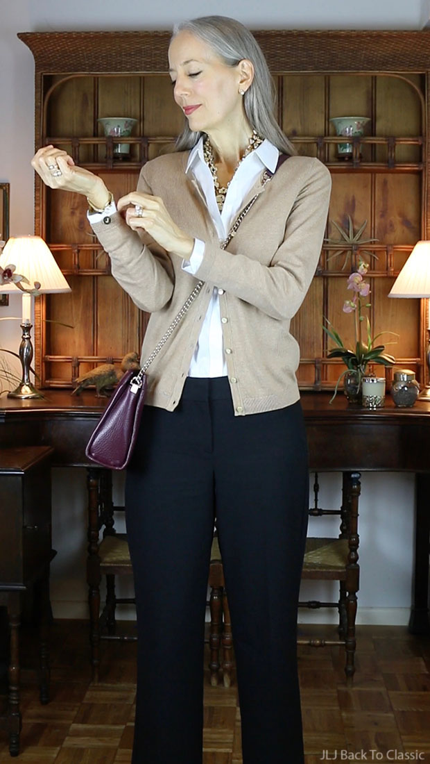 Classic-Fashion-Over-50-Talbots-Cardigan-Shirt-Black-Cropped-Wide-Leg-Pants