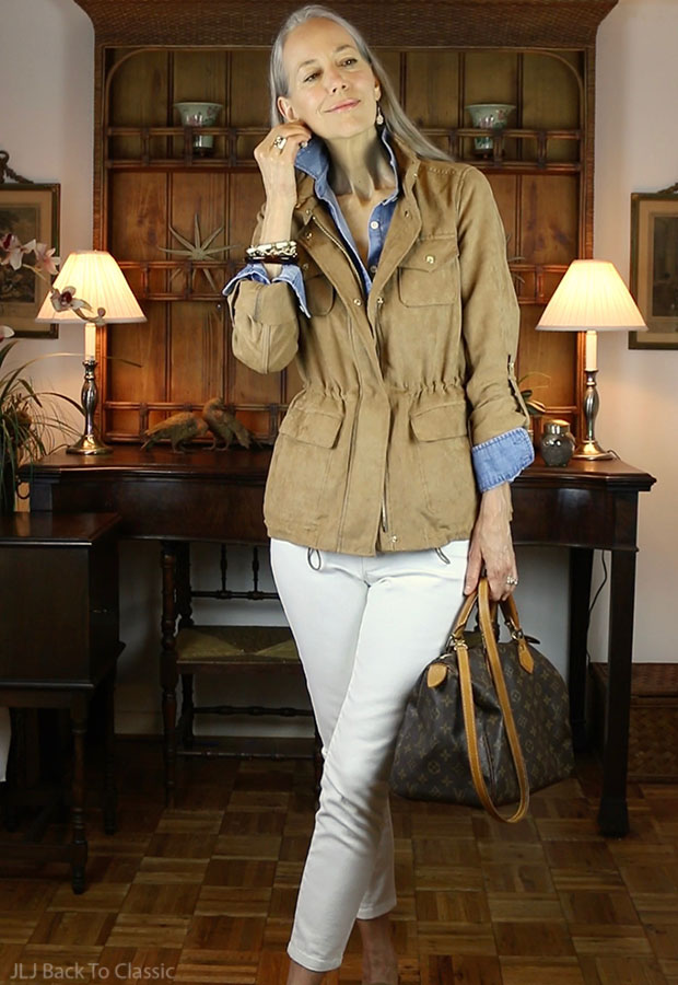 dc433ac346 Video) Warm-Weather Fall Casual OOTD  Cinched-Waist Jacket