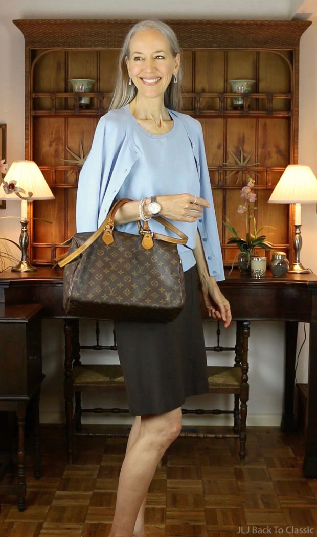 Talbots-Blue-Cardigan-Shell-Brown-Skirt-Louis-Vuitton-Monogram-Canvas-Speedy-30