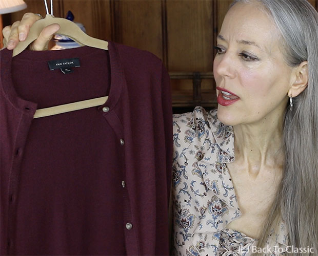 Classic-Fashion-Over-40-50-Ann-Taylor-Burgundy-Cotton-Ann-Cardigan-YouTube-Review