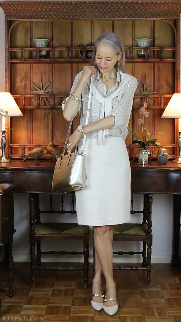 Classic-Fashion-Over-40-50-Ivory-Pencil-Skirt-Cardigan-Janis-Lyn-Johnson