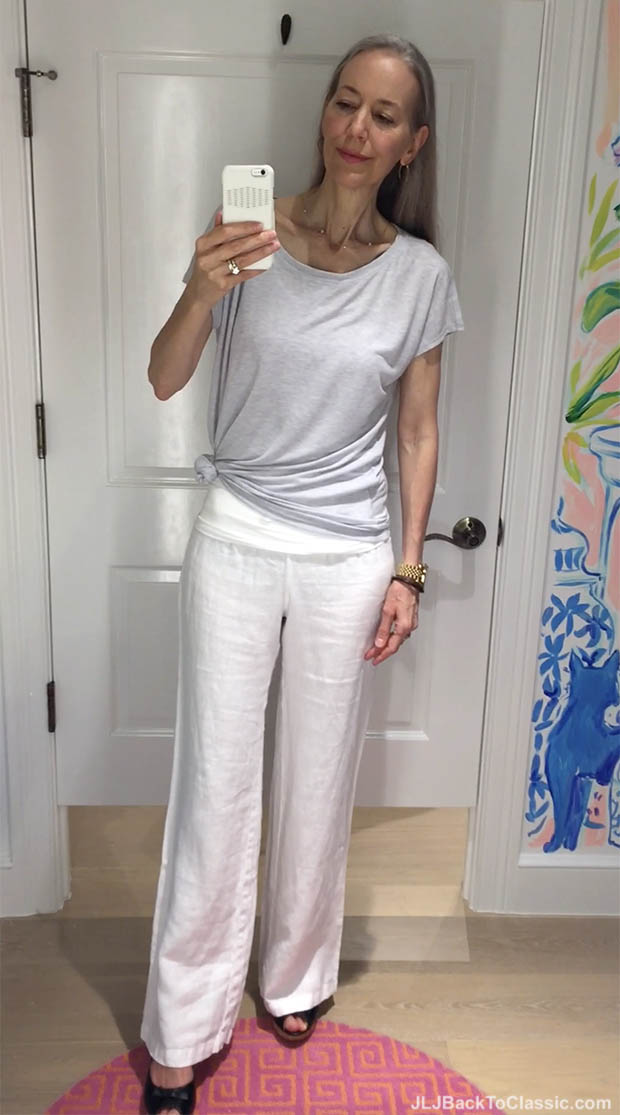 Classic-Fashion-Over-40-Lilly-Pulitzer-Grey-Vandy-Top-White-Linen-Pant