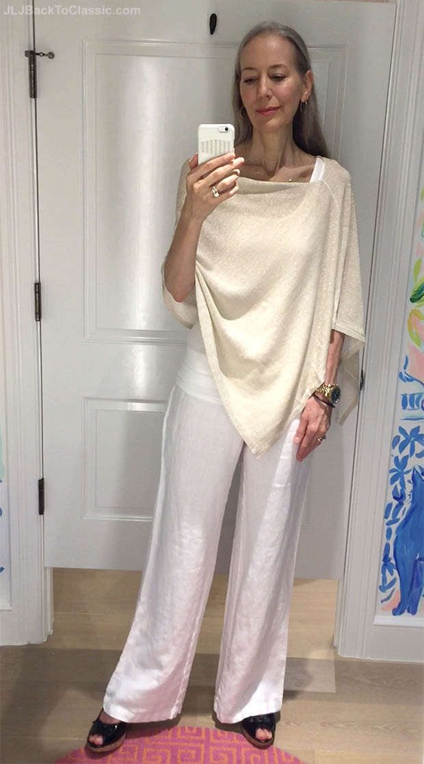 Classic-Fashion-Over-40-Lilly-Pulitzer-Gold-Metallic-Poncho-White-Linen-Pant