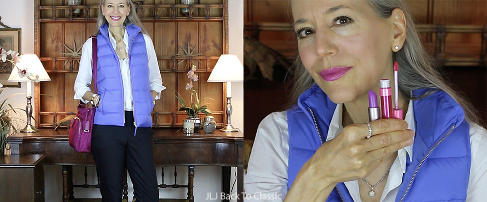 Blue Puffer Vest, White Button Up, Black Pants & Fuchsia Crossbody OOTD / Classic Fashion, Style Over 40, 50