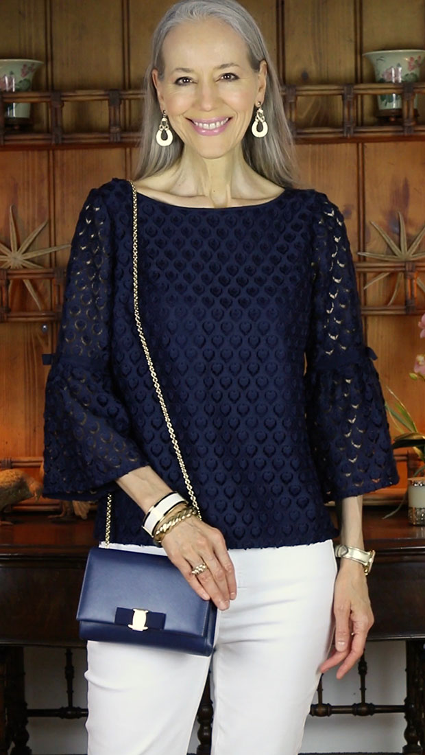 classic-fashion-over-40-Talbots-Navy-Tulip-Sleeve-Lace-Top
