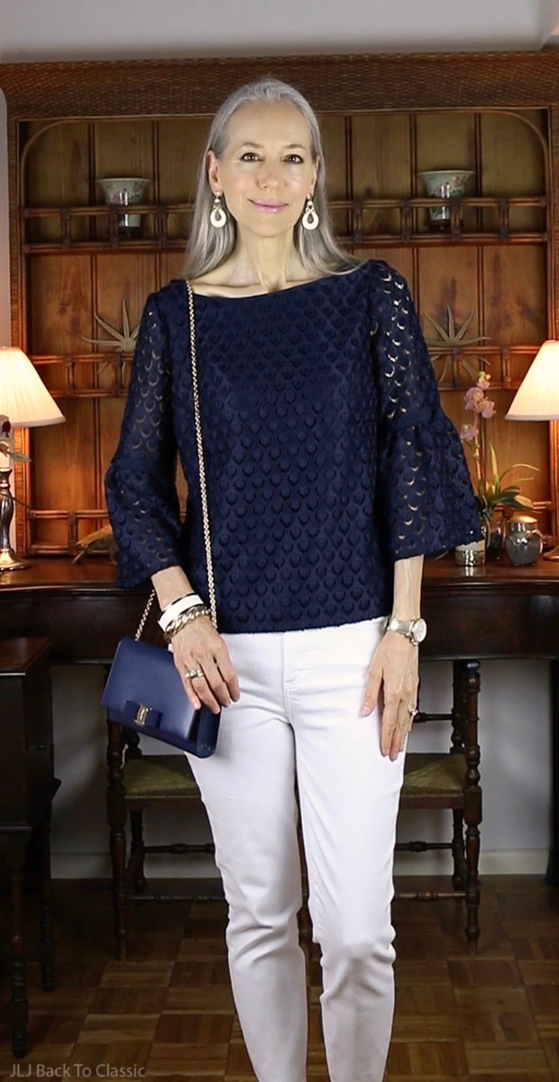 classic-fashion-over-40-Talbots-Navy-Lace-Top-Salvatore-Ferragamo-Vara-Bag