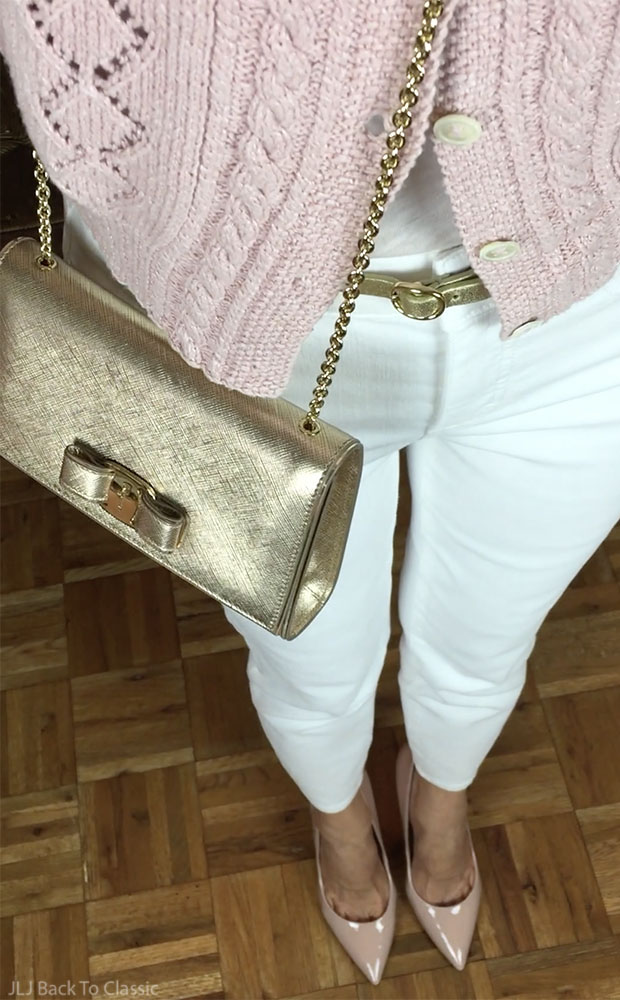classic-fashion-ralph-lauren-blush-sweater-talbots-white-jeggings-salvatore-ferragamo-vara