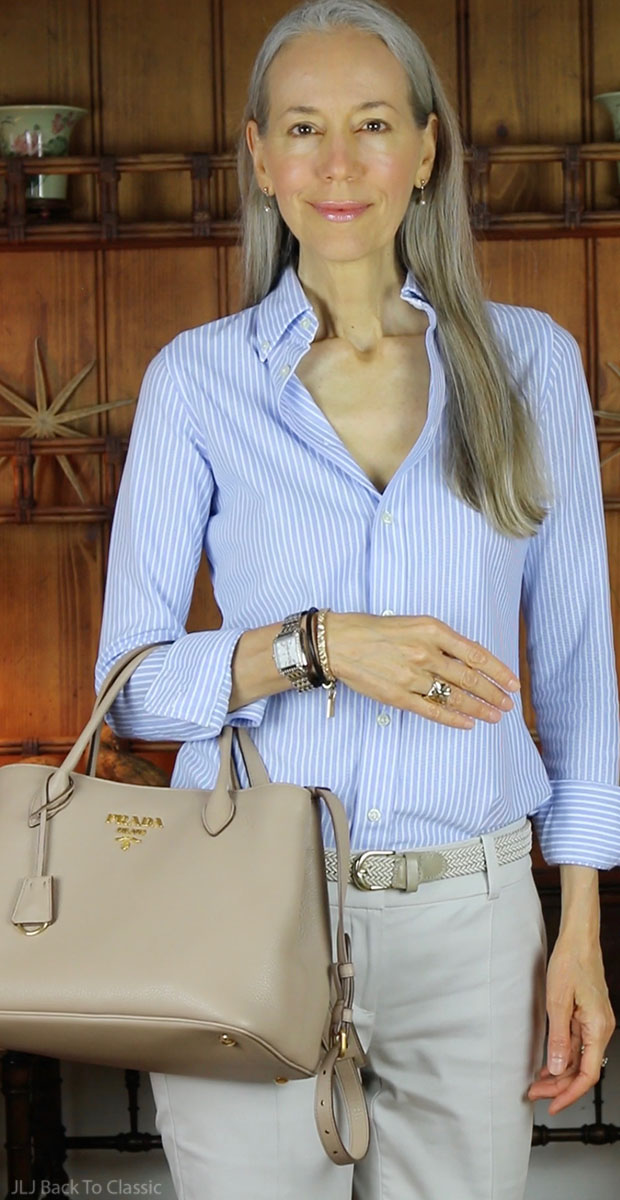 classic-fashion-over-40-prada-vitello-daino-polo-ralph-lauren-striped-oxford