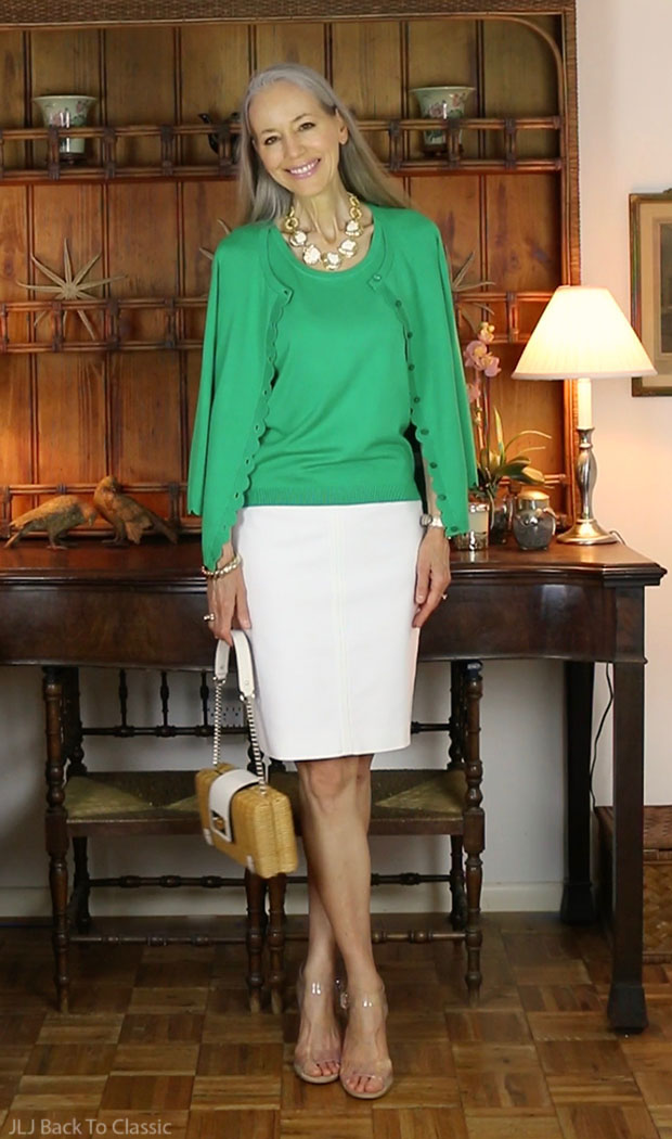 classic-fashion-talbots-clover-charming-cardigan-white-skirt-kate-spade-wicker-bag
