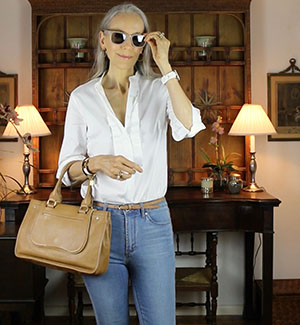 Ann-Taylor-Pleated-Shirt-Sunglasses-classic-fashion-over-40
