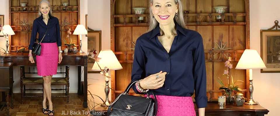 black-chanel-chevron-chic-bag-talbots-magenta-pencil-skirt-Janis-Lyn-Johnson