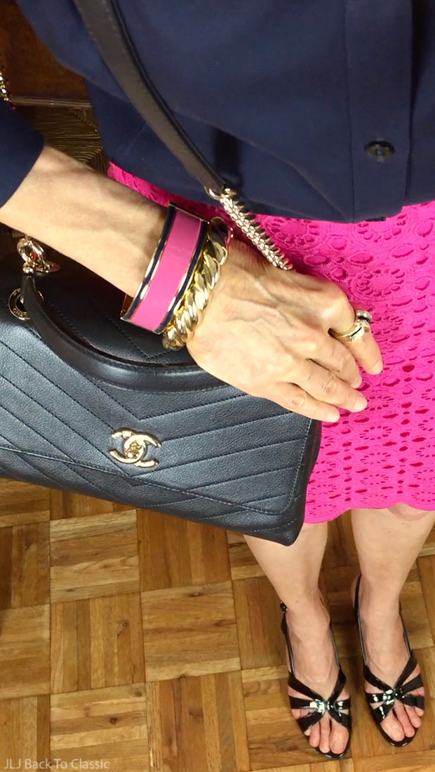 chanel-chevron-chic-bag-talbots-magenta-pencil-skirt-classic-fashion-over-40