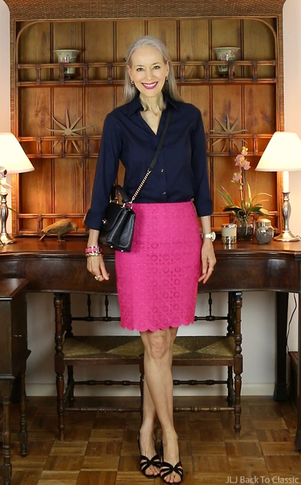 black-chanel-chevron-chic-bag-preppy-talbots-magenta-pencil-skirt-Janis-Lyn-Johnson