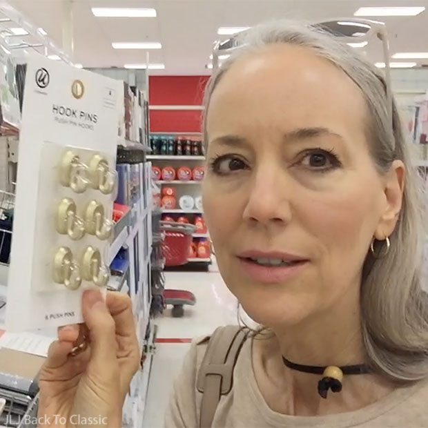 Vlog-Target-Naples-Florida-gold-hook-push-pins-Blogger-Janis-Lyn-Johnson