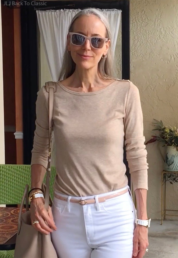 classic-fashion-over-40-Beige-Long-Sleeve-Tee-White-Jeans-Beige-Sunglasses