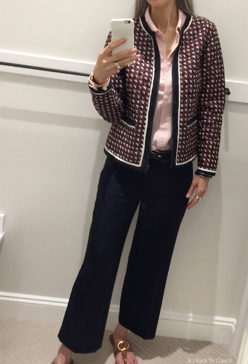 vlog-waterside-shops-Talbots-Reversible-Quilted-Jacket-navy-cropped-wide-leg-pants