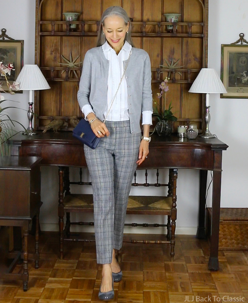 preppy-over-40-brooks-brothers-white-ruffle-shirt-gray-plaid-pants-cardigan