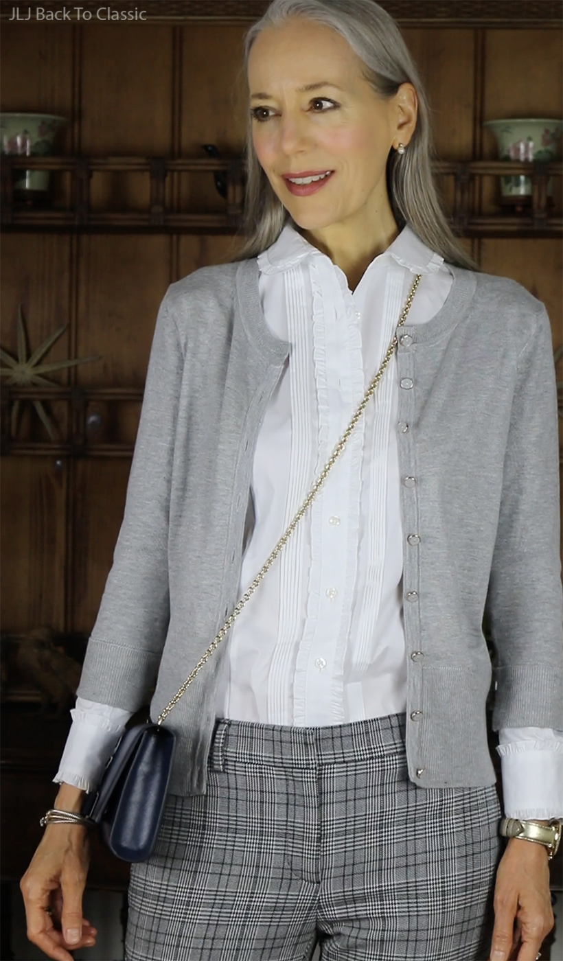 preppy-over-50-Brooks-Brothers-Ruffle-Shirt-Gray-cardigan-Janis-lyn-johnson