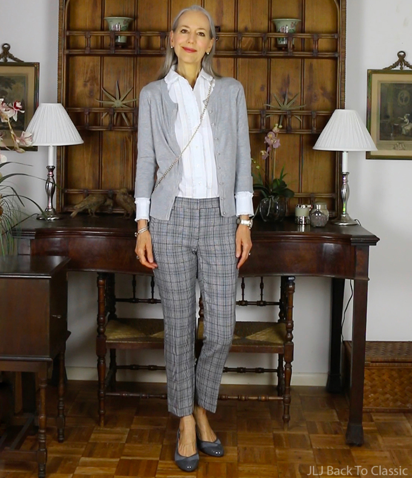 preppy-over-50-ann-taylor-gray-plaid-pants-cardigan-janis-lyn-johnson