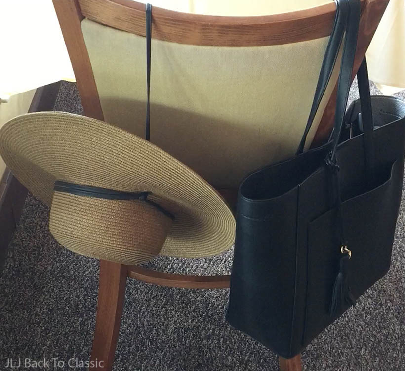 classic-fashion-wide-brim-straw-hat-Cole-Haan-black-leather-shoulder-tote