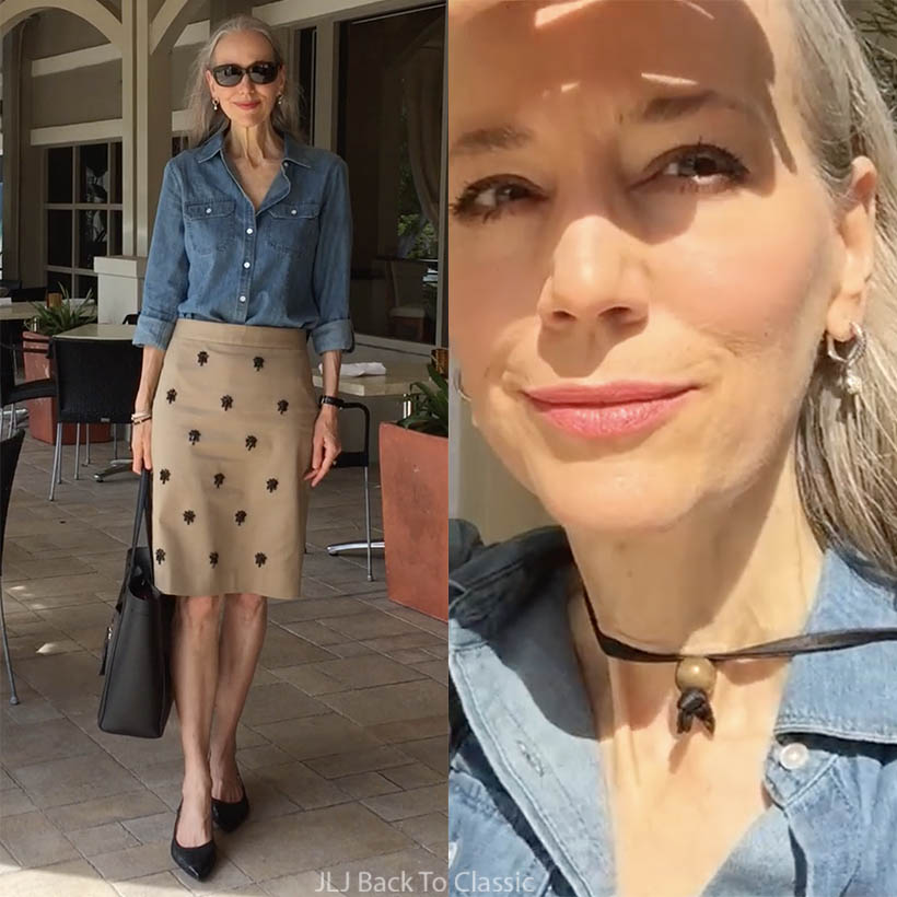 a2f51b5ea6 (Vlog) Denim Shirt   British-Khaki Embellished Pencil Skirt OOTD  Lunch at  M Waterfront Grille at The Village on Venetian Bay   Classic Fashion